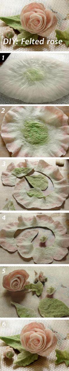 DIY: Felted Rose (Валяем розу из шерсти)  See more: http://www.livemaster.ru/topic/594171 #diy #handmade #felting