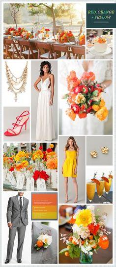 Red, Orange + Yellow wedding inspiration