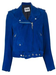 Royal-blue suede biker jacket from ACNE featuring shoulder tabs, an asymmetric front zip fastening, zipped slant and snap-fastening flap pockets and a buckled belt.