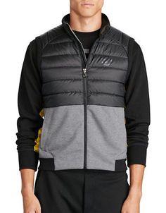 Polo Sport Paneled Full-Zip Vest Men's Black/Grey XX-Large
