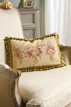 Bouquet Aubusson Pillow - Floral Throw Pillow, Cotton Velvet Pillow, Decorative Throw Pillow   Soft Surroundings