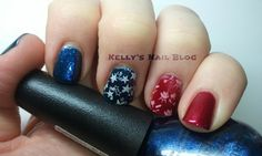 Memorial Day Nail Art, Nail Stamping Manicure... Nicole By OPI If The Blue Fits... Sinful Colors Sugar, Sugar... Stamping.