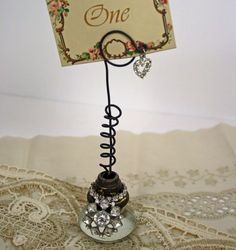 Photo or Place Card Holder Rhinestone Altered Vintage Glass Door Knob