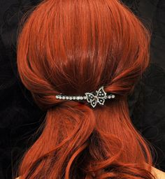 GORGEOUS crystal Hair Barrette! solid crystals w/crystal BUTTERFLY in center! SALE $18 OOAK