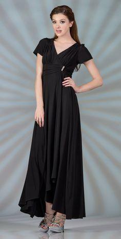 Tea Length Modest Black Choir Dress Short Sleeves V Neckline  $89.99