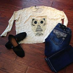 Cute Owl Top Miss Me Jeans and Toms