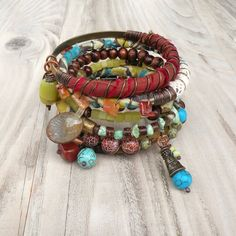 Silk Road Gypsy Bangle Stack  Medina  6 Bohemian Bracelets by GypsyIntent