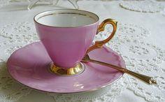 Baroque Pink / 22k Gold Trim - 1950s Mid-Century Vintage - BLING! - Mocca - Mokka - Espresso - Demitasse - CUP & SAUCER - Bavaria, Germany