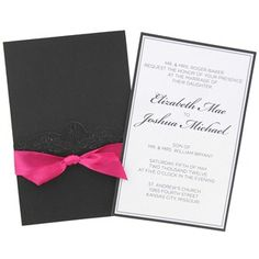 His & Hers Hot Pink & Black Laser Cut Wedding Invitations | Shop Hobby Lobby...Love these!
