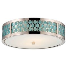 Eco-friendly flush mount with a white glass shade and turquoise accents.    Product: Flush mountConstruction Materi...