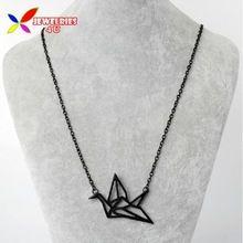Diseñador de moda Negro Oro Plata Origami Corto Collar Falso Hueco de la Aleación Colgante y Collar para Las Mujeres mineros al por mayor(China (Mainland))
