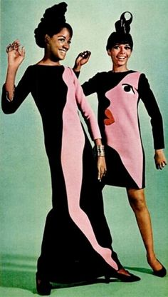 Dresses by Yves St Laurent, 1967.1960s fashion