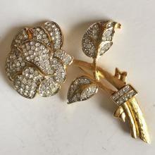 Gold plated huge ROSE shape brooch with white rhinestones, signed NOLAN MILLER