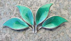 Vintage David Andersen Norway Sterling Silver and Enamel Green Leaf Pin   eBay