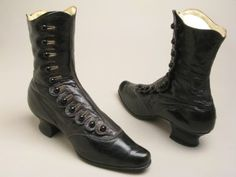 Boots, 1900, made of kid, cotton, silk, and leather