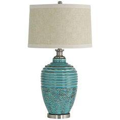 Beta Teal Textured Ceramic Jug Table Lamp