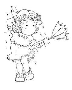 .tilda sous la pluie - parapluie retourné - automne Magnolia Colors, Sweet Magnolia, Colouring Pages, Coloring Books, Copics, Card Tags, Digital Stamps, Magnolias, Creative Cards