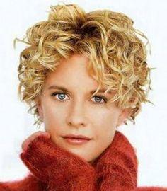 Meg Ryan would look good in any hair style. Meg Ryan with short curly hair style with golden blonde hair from . Meg Ryan Hairstyles, Short Curly Hairstyles For Women, Haircuts For Curly Hair, Curly Hair Cuts, Short Hair Cuts, Curly Hair Styles, Curly Short, Wavy Hairstyles, Hairstyle Short