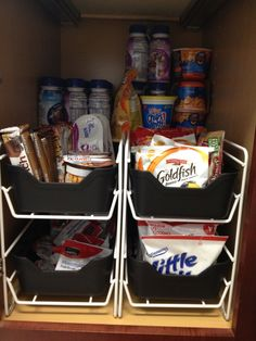 Kid snack cabinet organization
