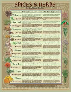 A beautifully designed Healing Spices and Herbs chart for any Kitchen! Your daily spices provide tasty, and savory culinary delights, yet are filled with healthy vitamins and minerals and other compounds, that when eaten regularly may promote better health. This downloadable chart Natural Health Remedies, Herbal Remedies, Cold Remedies, Bloating Remedies, Natural Remedies For Allergies, Sunburn Remedies, Pimples Remedies, Arthritis Remedies, Holistic Remedies