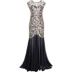 Kayamiya Women's 1920s Beaded Sequin Floral Maxi Long Gatsby Flapper... (65 CAD) ❤ liked on Polyvore featuring dresses, floral print maxi dress, gatsby prom dress, sequin prom dresses, beaded prom dresses and flapper dress