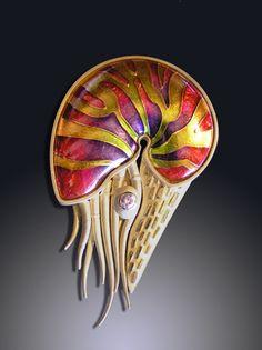 Nautilus Pin/Pendant #2 by Amy Roper Lyons, via Flickr