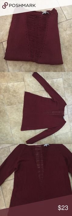 Maroon sweater Maroon sweater with see through string down the middle. Sleeves (as seen in last picture) also have netting down the middle. Sweaters