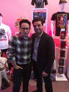 JJ Abrams and Oscar Isaac, Star Wars the Force Awakens press day, LA, Dec 4, 2015