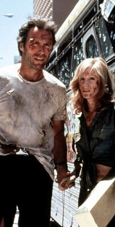 THE GAUNTLET (1977)  Clint Eastwood tries to protect a prositute (Sandra Locke ) who is testfying  against the mob.The climatic finale with Eastwood driving a bullet ridden city bus to the court house is not to be missed in this Cinema Trash Classic.