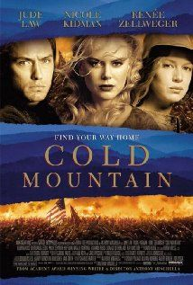 Cold Mountain (One of Best War Movies Ever) In the waning days of the American Civil War, a wounded soldier embarks on a perilous journey back home to Cold Mountain, North Carolina to reunite with his sweetheart. Stars: Jude Law, Nicole Kidman and Renée Zellweger #Cold #Mountain #movie #war