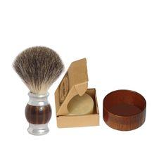 3pcs/set  Badger Hair Shaving Brush Shave Soap and Bowl
