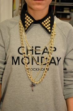 Cheap Monday. Studded collar. Black and gray. #idontlikemondays