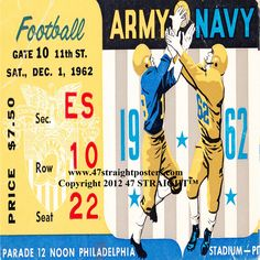 1962 #Army vs #Navy #drinkcoasters Best Cyber Monday Deals 2013! $29.99 for a set of four ceramic coasters made from 2,400 historic sports tickets! #stockingstuffers #CyberMonday #CyberMondayDeals #CyberMondaygifts #CyberMonday2013 #Christmas #collegefootball #football #sports #gifts #giftideas #47straight