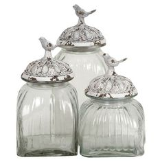 3 Piece Birds Jar Set