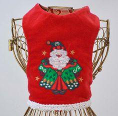 Christmas Santa Embroidered Reversible Dog by ElegantPoochie #Santa