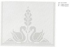 Swan Filet Crochet Curtain Graph by Needle-Works Butterfly.  use the swan graph over door and swans on entry table.