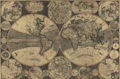 Old world The world map 1702 Antique maps 142 by mapsandposters, $9.99