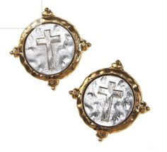 Mixed Metal Cross Wax Seal Earrings   Fashion Faith