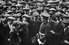 Recruiting station at Scotland Yard on August 4 1914 besieged by would be recruits during the first week of the First World War. The crowds were so large mounted police were necessary to keep the crowd in check.
