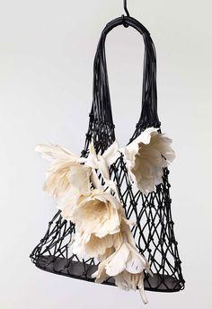 Celine 'Net bag in black vegetal calfskin' FW 2015 Celine Micro Luggage, Save The World, Fashion Gone Rouge, Ethno Style, Net Bag, Celine Bag, Macrame Bag, Basket Bag, Summer Bags