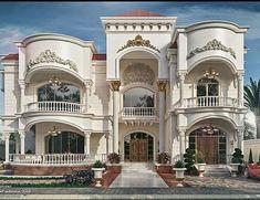 Dieb Studio on Behance Classic House Exterior, Classic House Design, Dream Home Design, Modern House Design, House Outside Design, House Front Design, Villa Design, House Architecture Styles, Architecture Design