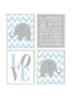 Nursery Art Elephant Chevron Baby Boy Nursery Prints, Gray Light Blue Wall Art  Love -  Nursery Decor Playroom Rules Quote - 4 8x10