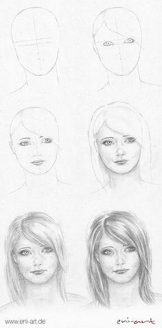 Secrets Of Drawing Realistic Pencil Portraits - Gesicht zeichnen: Schritt für Schritt Secrets Of Drawing Realistic Pencil Portraits - Discover The Secrets Of Drawing Realistic Pencil Portraits Portrait Au Crayon, Pencil Portrait Drawing, Pencil Art Drawings, Art Drawings Sketches, Drawing Faces, Easy Drawings, Painting & Drawing, Realistic Face Drawing, Drawing Portraits