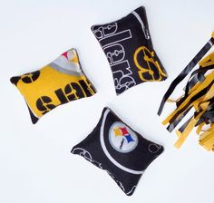Steeler's Small Cat Toy Set Pittsburgh Football Organic by PawPets