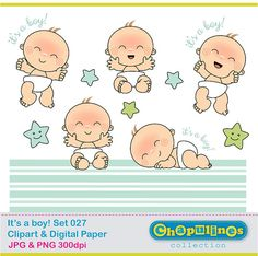 Baby boy  Newborn  Clipart and Digital by ChapulinesCollection, $5.00