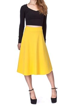 3f914e7a5c Dani s Choice Everyday High Waist A-Line Flared Skater Midi Skirt at Amazon  Women s Clothing store