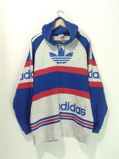 25390b454 Vintage Adidas Trefoil Big logo spellout hooded sweater shirt hip hop style