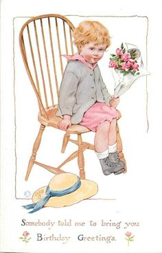 SOMEBODY TOLD ME TO BRING YOU BIRTHDAY GREETINGS  boy sits on chair holding roses