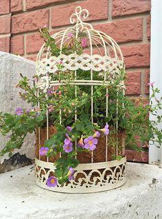Bird Cage Flower Planter by Amanda Formaro, Crafts by Amanda