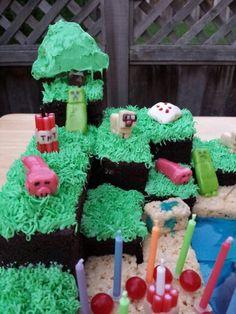minecraft cake Minecraft Cake, Desserts, Food, Tailgate Desserts, Dessert, Postres, Deserts, Meals, Mine Craft Cake
